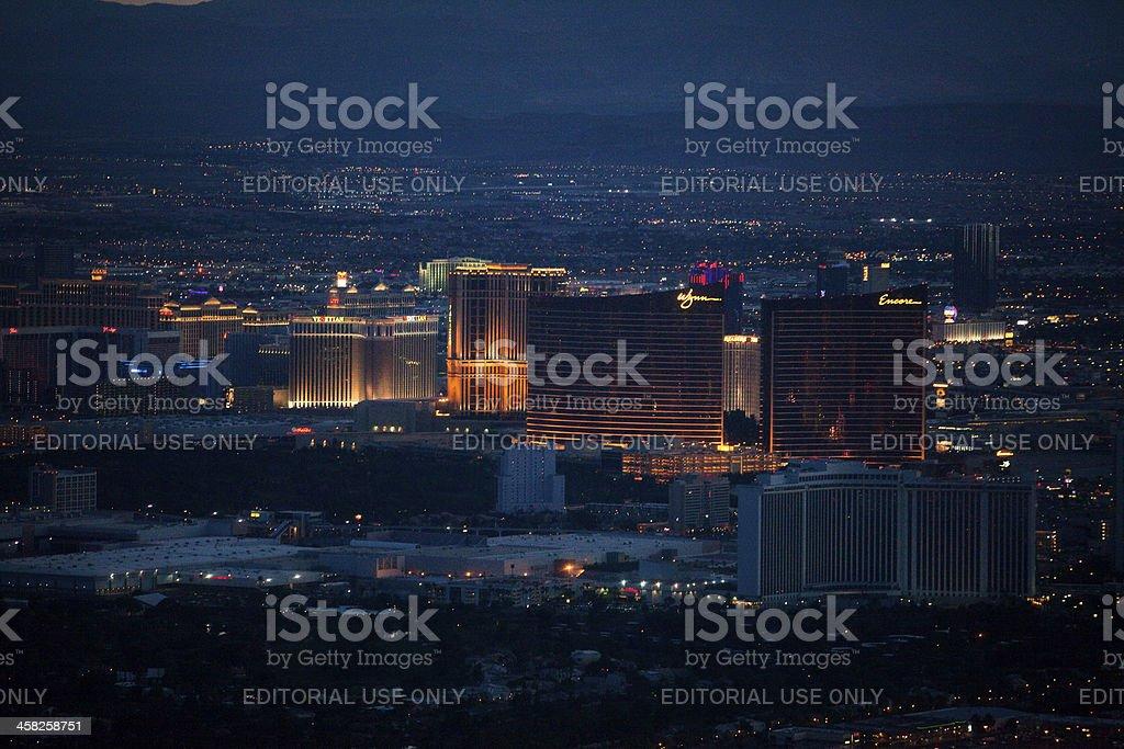 Aerial Shot of Wynn/Encore Hotel and Casino Nighttime stock photo