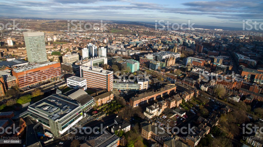 Aerial shot overlooking city centre stock photo