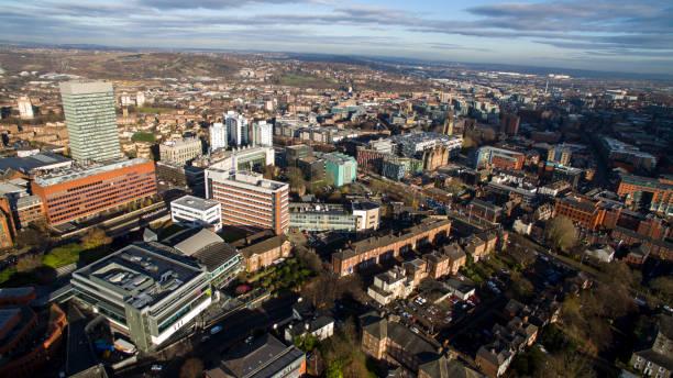 aerial shot overlooking city centre - sheffield stock-fotos und bilder