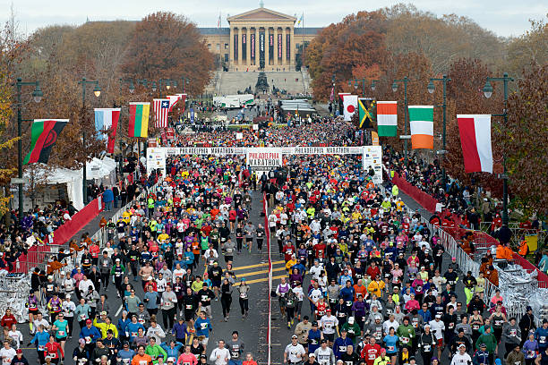 Aerial Shot start of 2012 Philadelphia Marathon stock photo
