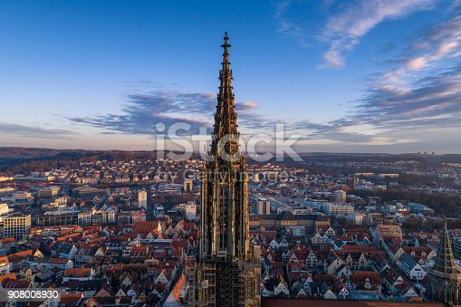 istock Aerial shot taken with a drone of Ulm Minster at sunrise 908008930
