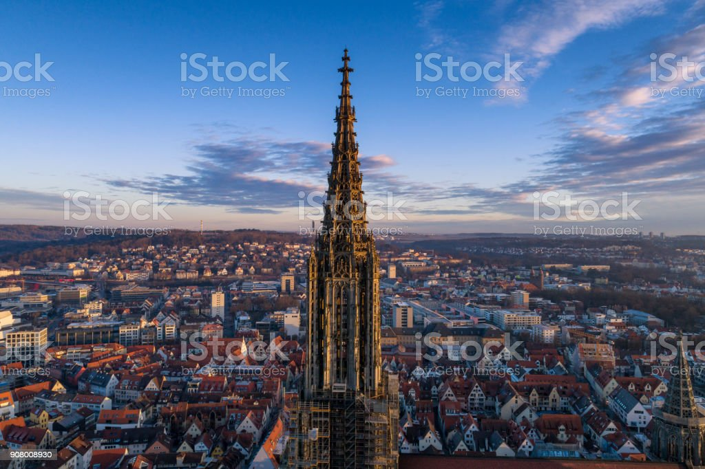 Aerial shot taken with a drone of Ulm Minster at sunrise stock photo