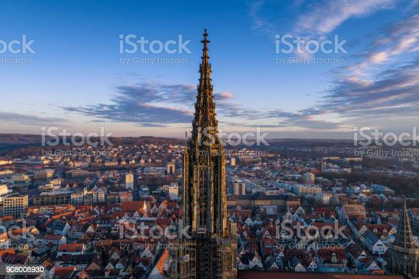 Ulm, Germany - March 11, 2017 - Aerial shot taken with a drone of Ulm Minster at sunrise