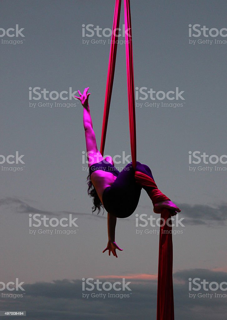 aerial silk stock photo