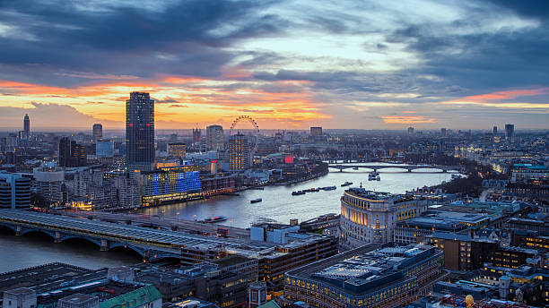 Aerial skyline of central London with famous landmarks stock photo