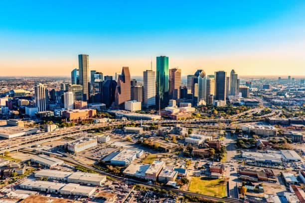 Aerial Skyline of Houston stock photo