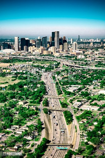The downtown skyline and surrounding metropolitan area of Houston, Texas shot from an altitude of about 1500 feet during a helicopter photo flight.