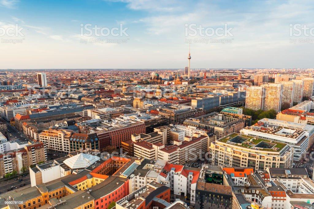 Aerial skyline panorama of Berlin stock photo