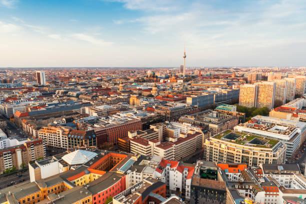 aerial skyline panorama berlin - berlin mitte stock-fotos und bilder