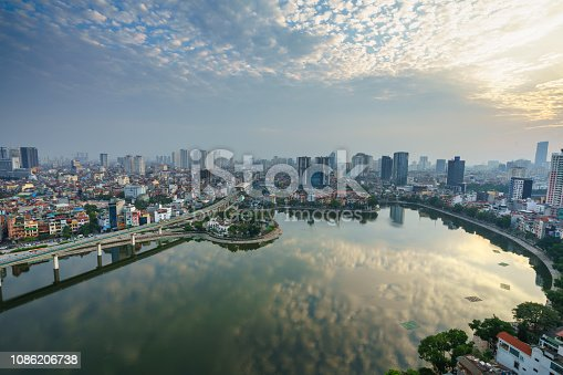Aerial skyline view of Hanoi city, Vietnam. Hanoi cityscape by sunset period at Hoang Cau lake, Dong Da district