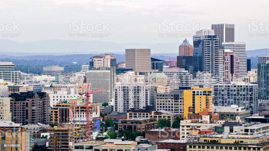 Aerial skyscrapers from Fremont Bridge in Portland stock photo