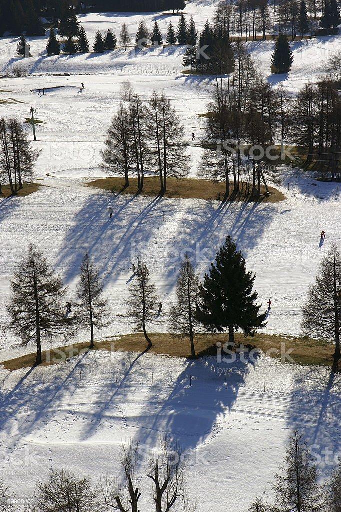 Aerial snow scene stock photo