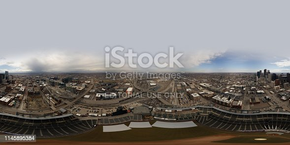 Denver, CO, USA - MARCH 15, 2019: Aerial spherical equirectangular panorama above Coors Field Denver Colorado