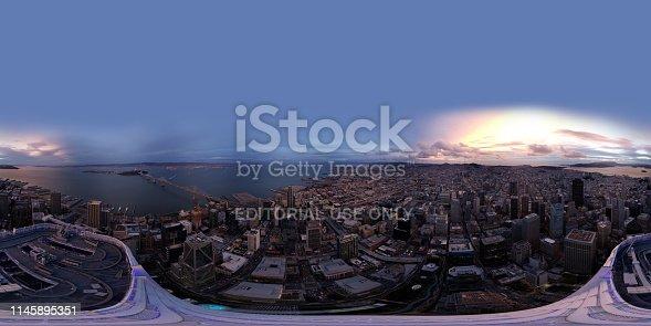 San Francisco, CA, USA - MARCH 15, 2019: Aerial spherical equirectangular panorama above San Francisco California Salesforce tower