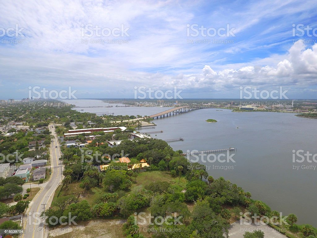 Aerial St. Johns River stock photo