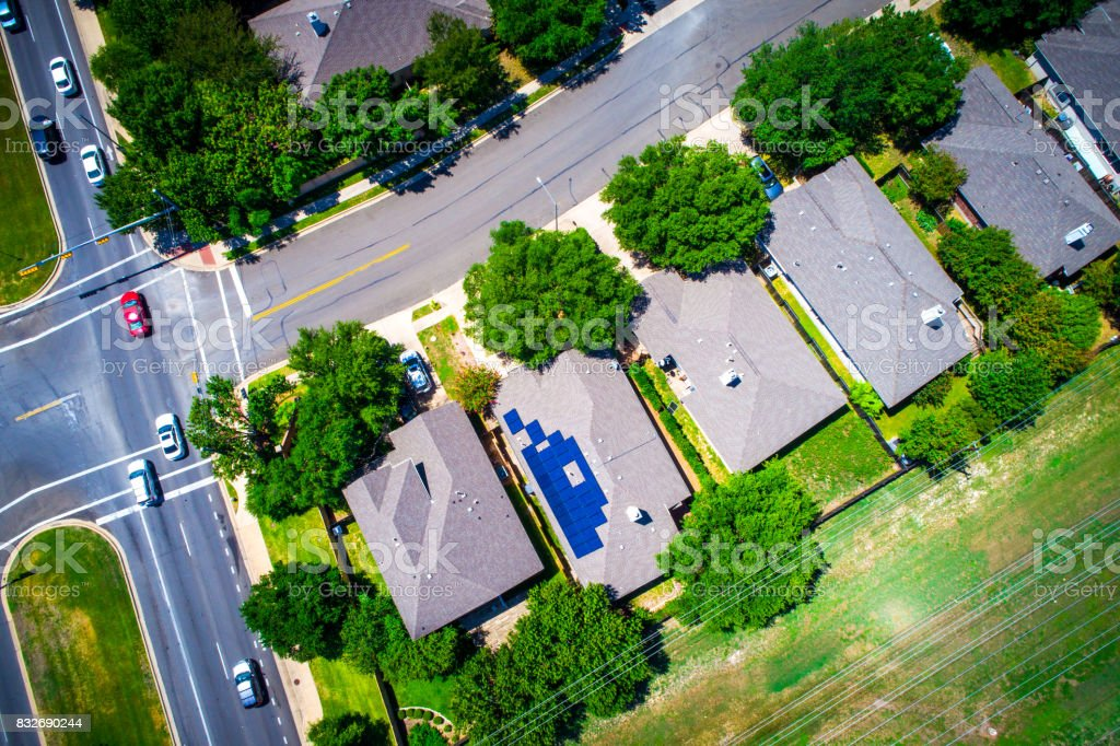 Aerial Suburb Austin Texas Modern Neighborhood Solar Panels And Curved  Layout Stock Photo - Download Image Now
