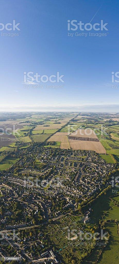 Aerial suburbs farmland blue sky royalty-free stock photo