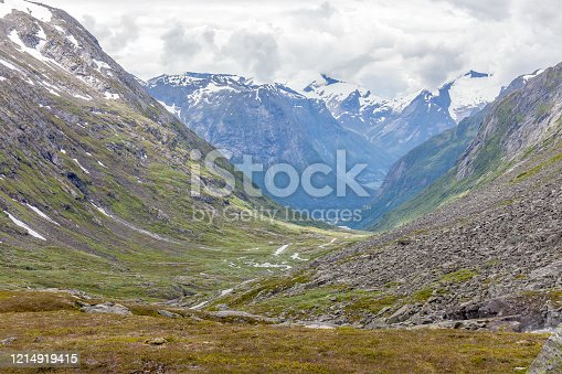 Norway, Beautiful View Of Mountain with cloudy sky and Green Valley, View from the viewpoint. Norway Mountain Landscape, selective focus