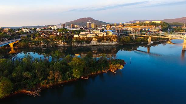 Aerial Sunrise Over Chattanooga Tennessee Aerial sunrise over Chattanooga Tennessee chattanooga stock pictures, royalty-free photos & images