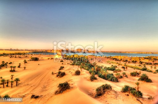 Aerial sunrise Panoramic view to Yoa lake group of Ounianga kebir lakes , Ennedi, Chad