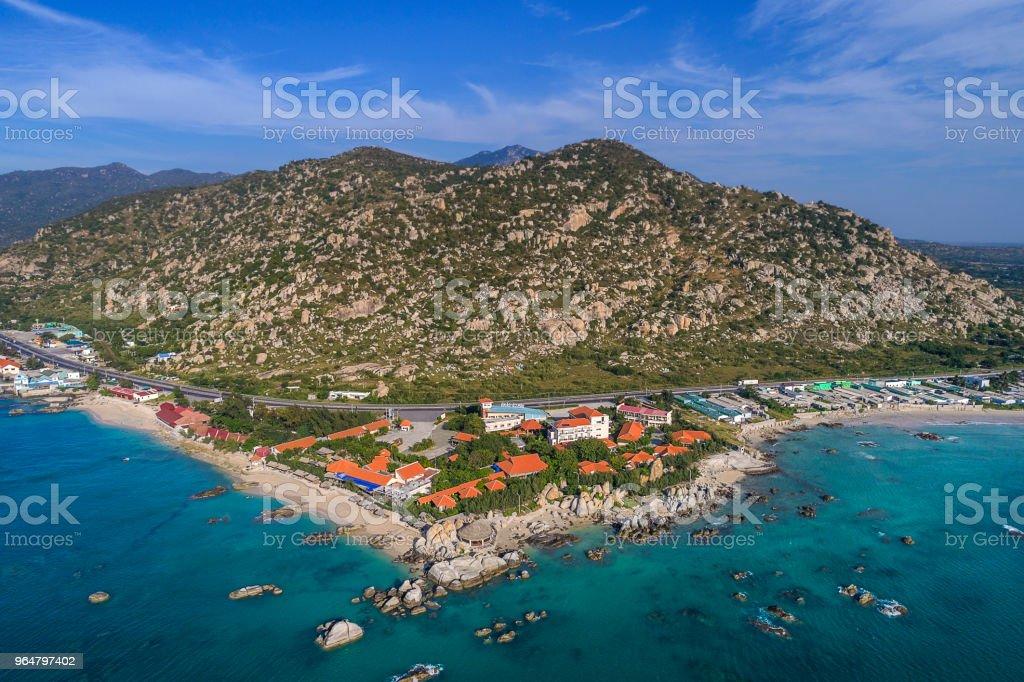 Aerial sunrise view of Rocky Hang Rai beach, Vietnam royalty-free stock photo