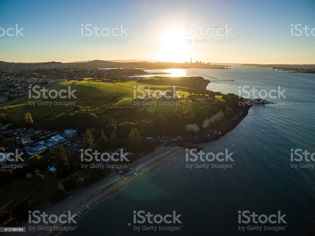 Aerial Sunset in Mission Bay stock photo