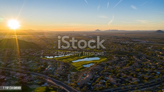 istock aerial sunset in the Desert. 1191349899