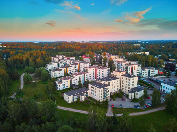 Aerial sunset view of Espoo, residential suburb of Helsinki, Finland stock photo