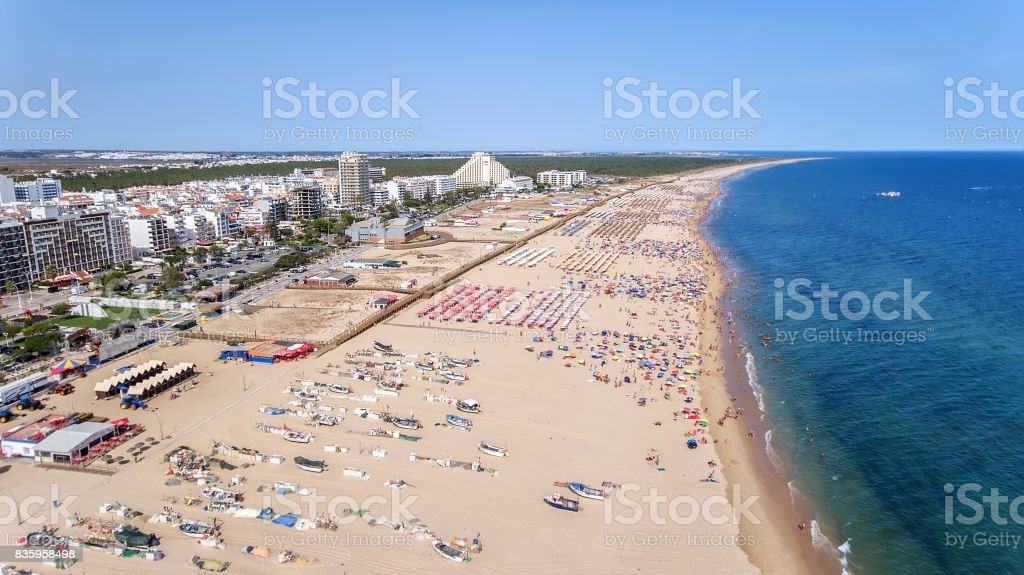 Aerial. The amazing beaches of Monte Gortdo, taken from sky. View of the river Guadiana. stock photo