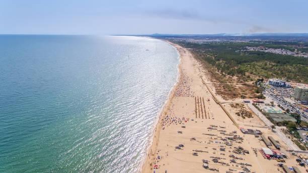 Aerial. The coastal spit of the Algarve, the beaches Monte Gordo and Altura. stock photo