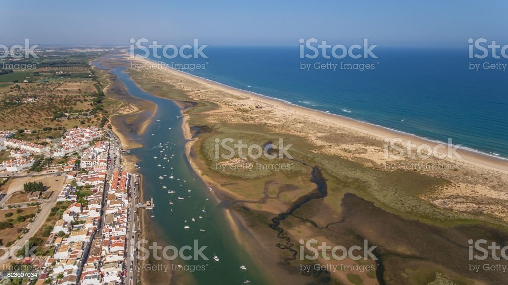 Aerial. The port in Cabanas Tavira. View from sky. stock photo