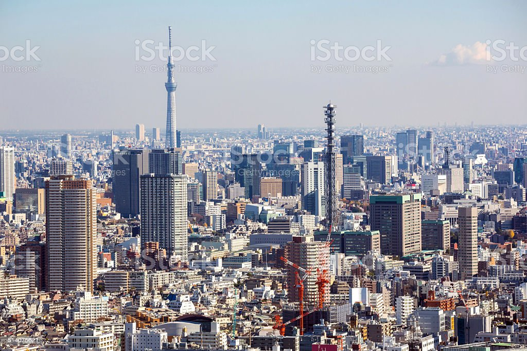 Aerial Tokyo Cityscape stock photo