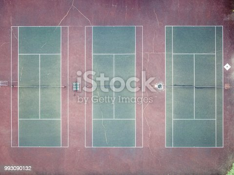 Aerial Top Down Tennis Sport Ground Court Empty Stock Photo More
