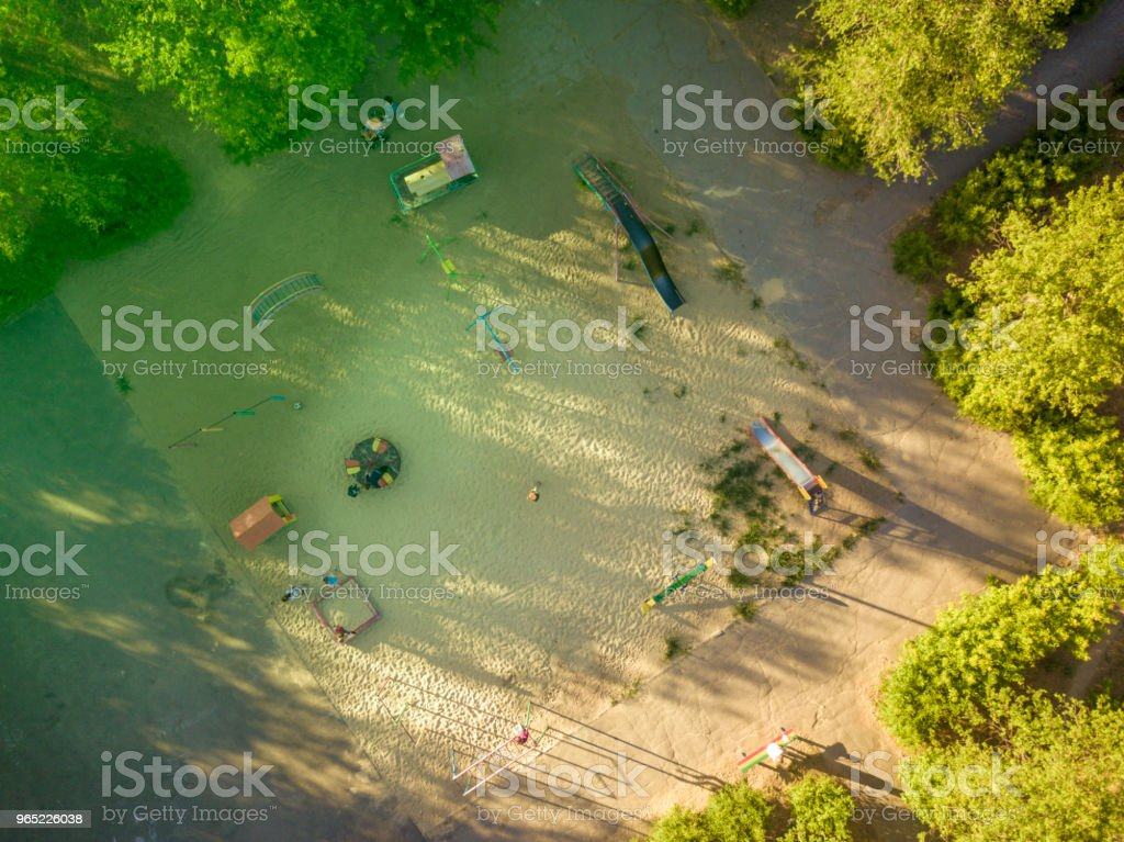 aerial top down view of a children ground in the yard royalty-free stock photo