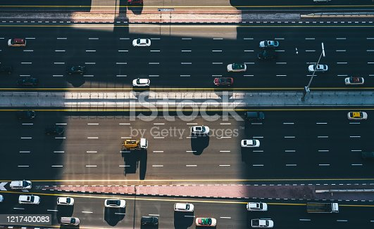 Aerial Top Down View of City Traffic on a Highway / Dubai, UAE