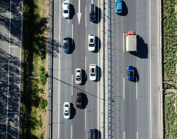 Aerial Top Down View of City Traffic on a Highway stock photo