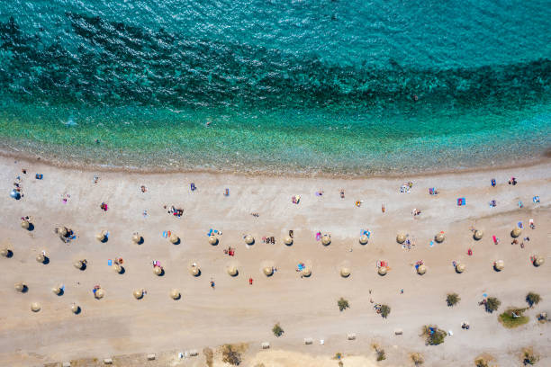 Aerial top down view to the beach of Glyfada district, south Athens Riviera, Greece stock photo