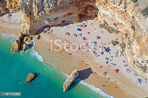 istock Aerial top shot from Praia da Marinha in the Algarve Portugal 1187142362