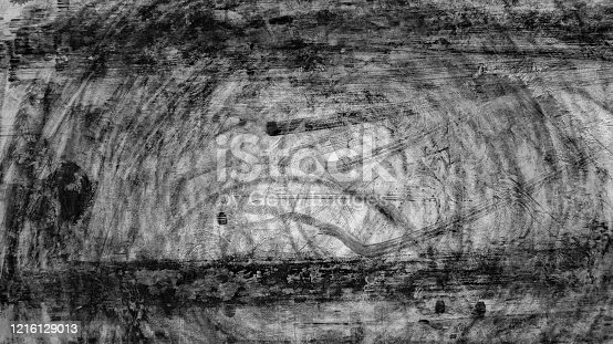 1095367134 istock photo Aerial top view abstract texture and background asphalt road with car tire track skid mark on race track, Abstract texture of car drift tire track skid mark black and white, Automobile concept. 1216129013