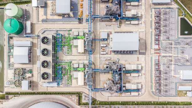 Aerial top view electric substation, view from above electric station. Aerial top view electric substation, view from above electric station. power station stock pictures, royalty-free photos & images