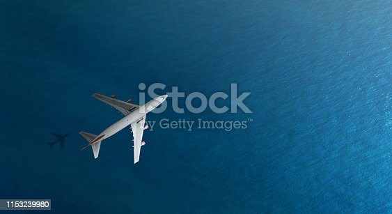 1058205304 istock photo Aerial top view of Airplane flies over a sea 1153239980