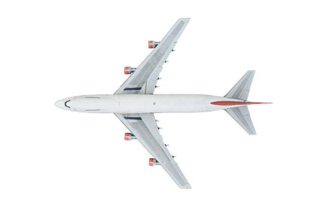 luftbild des flugzeugs auf weißem hintergrund isoliert - weißer hintergrund stock-fotos und bilder