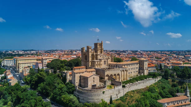 Aerial top view of Beziers town architecture and cathedral from above, South France stock photo