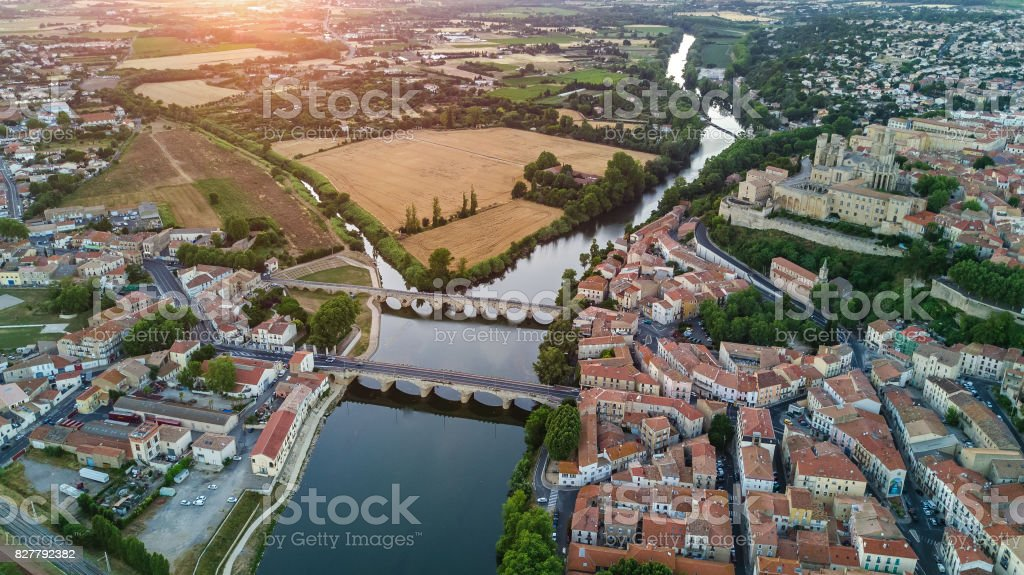Aerial top view of Beziers town, river and bridges, South France stock photo