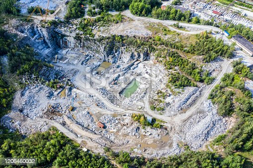 istock Aerial top view of crushing machinery, conveying crushed granite gravel stone in a quarry open pit mining. Processing plant for crushed stone and gravel. 1206460032
