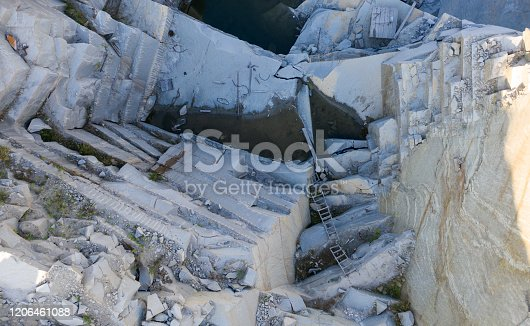 istock Aerial top view of crushing machinery, conveying crushed granite gravel stone in quarry open pit mining. Processing plant for crushed stone and gravel. Mining and Quarry mining equipment. 1206461088