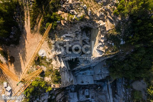 istock Aerial top view of crushing machinery, conveying crushed granite gravel stone in a quarry open pit mining. Processing plant for crushed stone and gravel. Mining and Quarry mining equipment. 1206461107