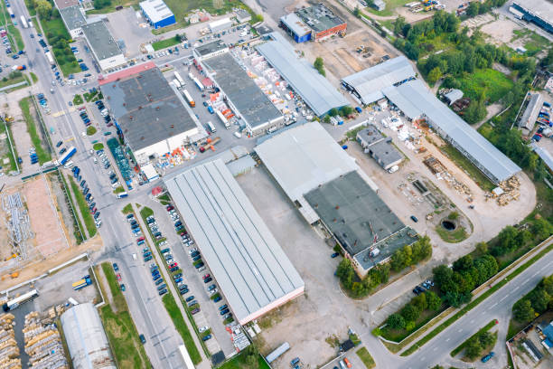 aerial top view of industrial district. manufacturing buildings and warehouses stock photo