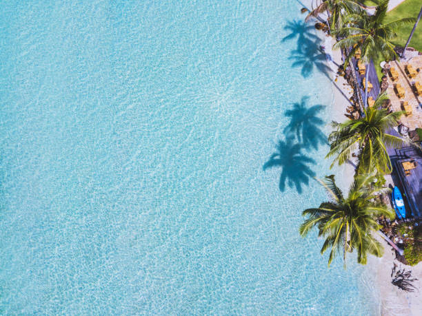 aerial top view of paradise beach by drone beautiful aerial top view of paradise beach koh chang stock pictures, royalty-free photos & images