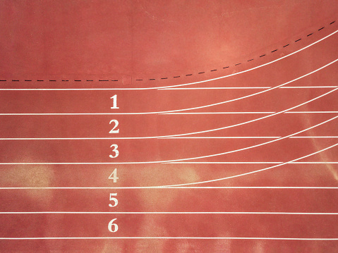 Aerial Top View of Running Track with Numbers